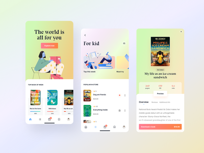 E book - online store progress mobile app book shopping daily challange palette color palette gradient user interface daily ui minimalist layout creative ecommerce illustration hero header clean typography concept minimal