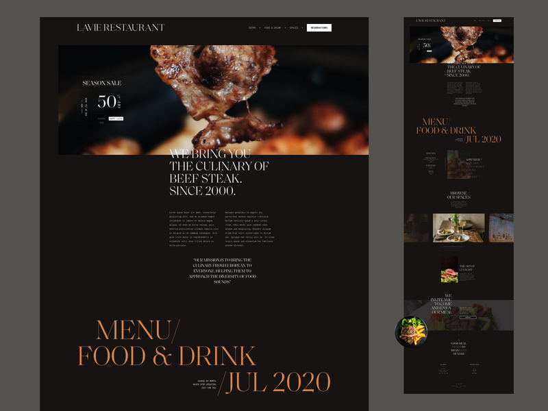 Lavie Restaurant - case on Behance user inteface typogaphy tab slide restaurant minimalist minimal grid layout hero header grid gallery ecommerce design inspiration dark ui dark theme dark mode culinary creative concept banner