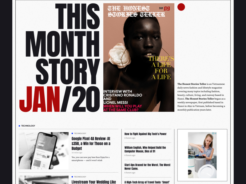 The Honest Stories Teller user interface daily ui white space article blog news magazine line border minimalist dailyui banner grid typo hero header typography layout concept creative minimal