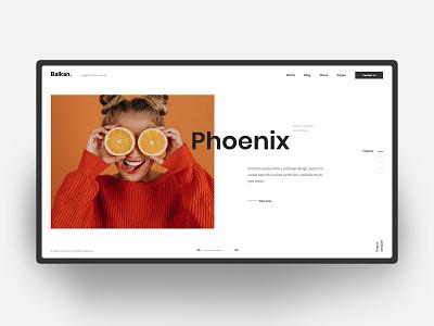 Portfolio - Homepage - Light background splitscreen hero header clean layout creative concept minimal ui typo
