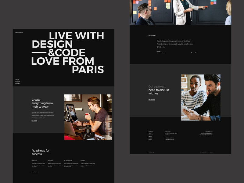 About us page agency bold typography grid layout dark creative