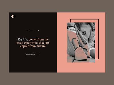 The idea layout grid minimal clean content blog slide serif typography typo dark black pink mode split screen combine color creative