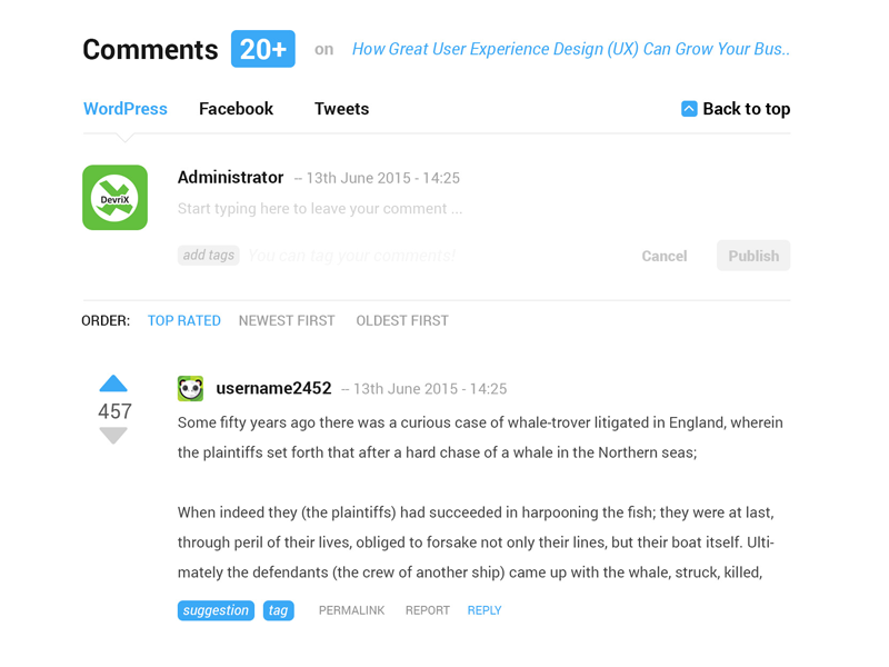 WordPress comments section concept by DevriX on Dribbble