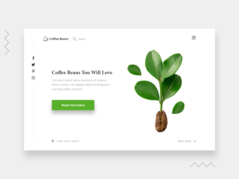 Coffee Beans ux typography ui design minimal contrast green white coffee landing page