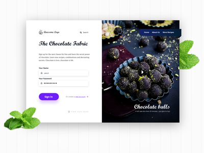 Want some chocolate? adobe xd typography homepage contrast design concept ui fresh login web