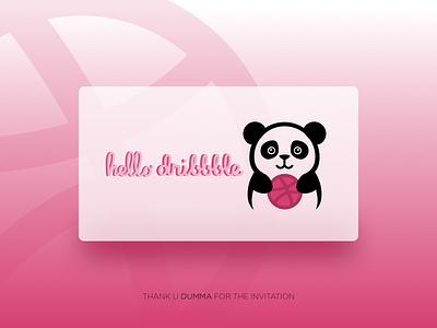 Hello Dribbble dribbbledebut dribbble welcome thankyou thanku firstshot debut card ui pandalover panda