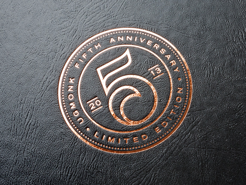 Anniversary Box Detail copper foil emboss seal crest box ugmonk packaging