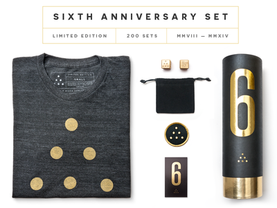Ugmonk 6th Anniversary Set ugmonk apparel tshirt product photography gold packaging brass dots dice
