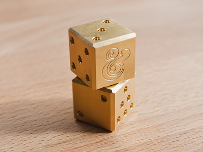 Solid Brass Dice ugmonk dice brass metal ampersand product photography