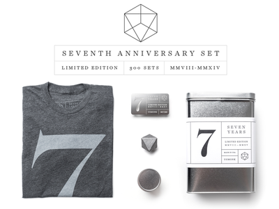 Ugmonk 7th Anniversary Set heptahedron tin 7 seventh seven product photography metal apparel tshirt packaging ugmonk