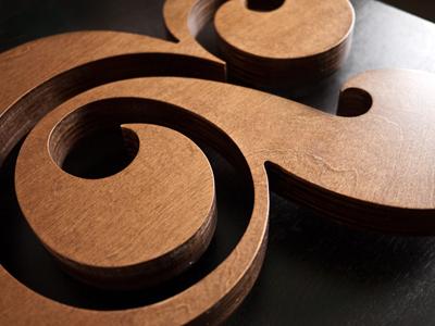 Ugmonk Premium Wood Ampersand ampersand wood stained typography art custom ugmonk