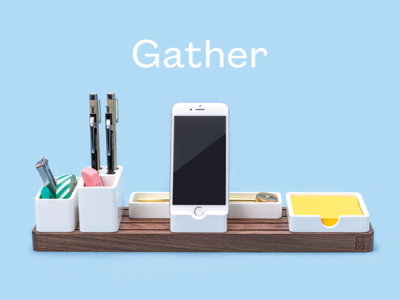 Gather desk tidy workspace product photography product industrial design minimal modular organizer ugmonk gather