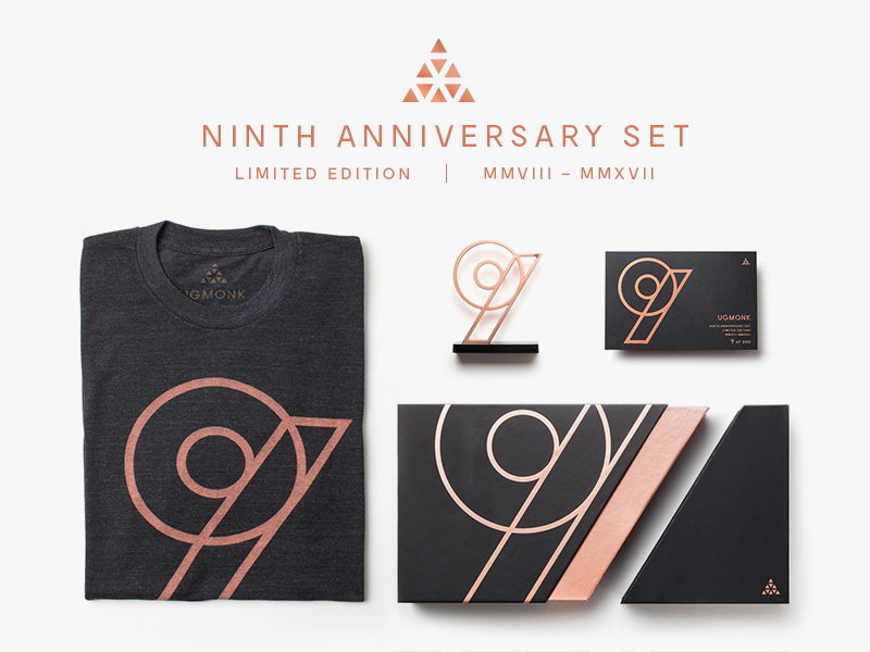 Ugmonk 9th Anniversary Set triangle set package rose gold trophy emblem 9th nine packaging tee ugmonk
