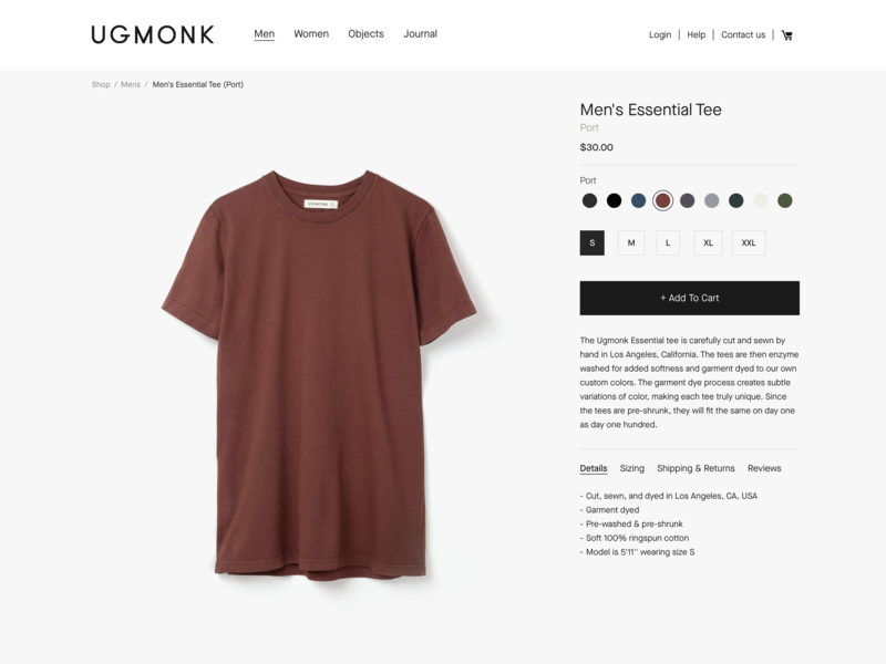 New Ugmonk - product page minimal fashion website tee product product page shop ecommerce