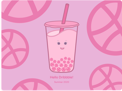 Hello Dribbble! milk tea is life first design cute illustration boba milk tea boba bubble milk tea first shot firstshot