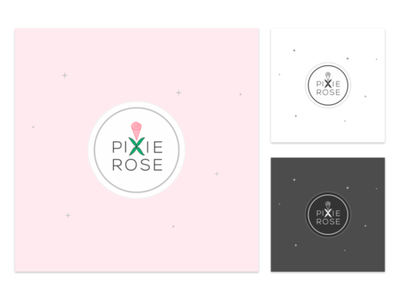 Logofolio - PixieRose flat minimalist cute dainty kawaii website logo e-commerce logo fresh pink rose pixies