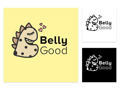 Logofolio - BellyGood Cookies vector dino mascot flat minimalist illustration sweets dessert character design cute baking logo e-commerce cookies