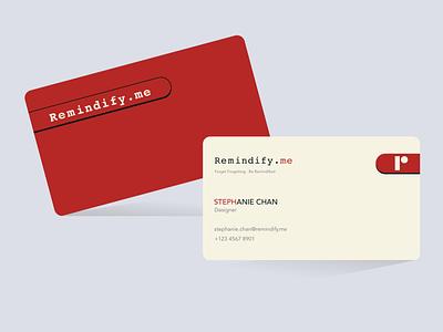Business Card - Remindify minimalist flat kawaii cute red business card