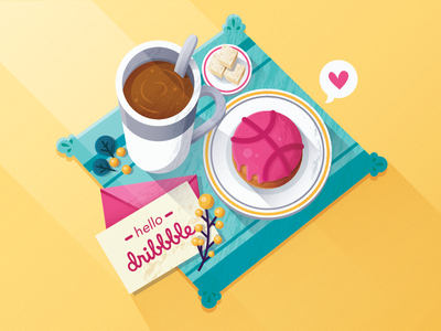 Hello Dribbble letter cookie cake debut
