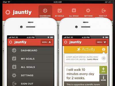 New Jauntly Nav photoshop website jauntly responsive navigation icons goals health flat menu web ios iphone