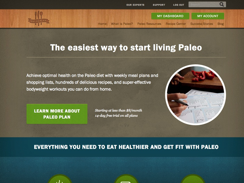 Paleo Plan Landing Page html design homepage landing page responsive diet paleo web css health mobile