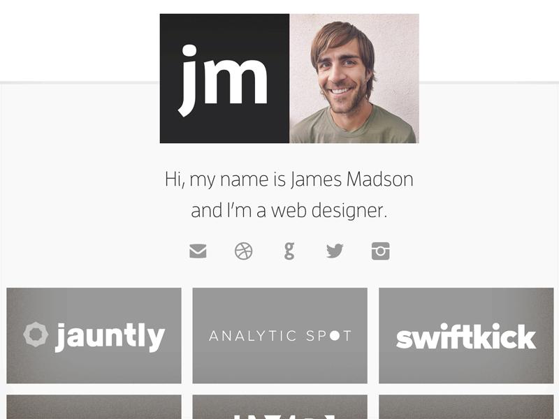 Jamesmadson.me personal site responsive portfolio svg typekit social icons css html grunt