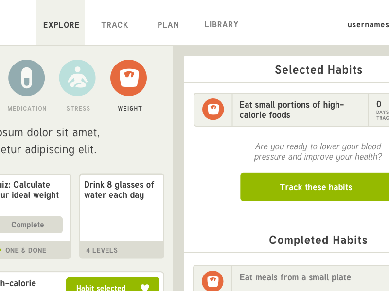 Habit app visual design WIP prototype flat app web ux ui habit health
