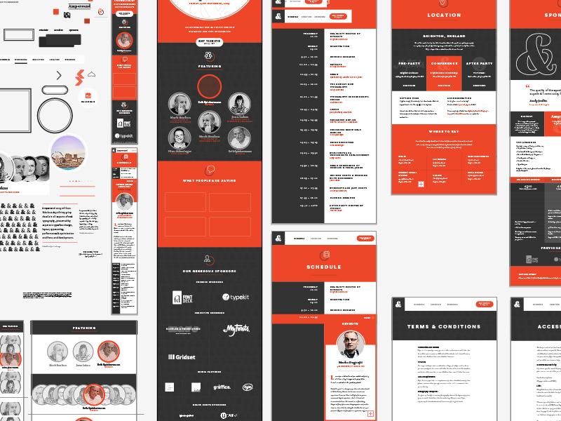 Conference website Design orange typography flat responsive website design conference