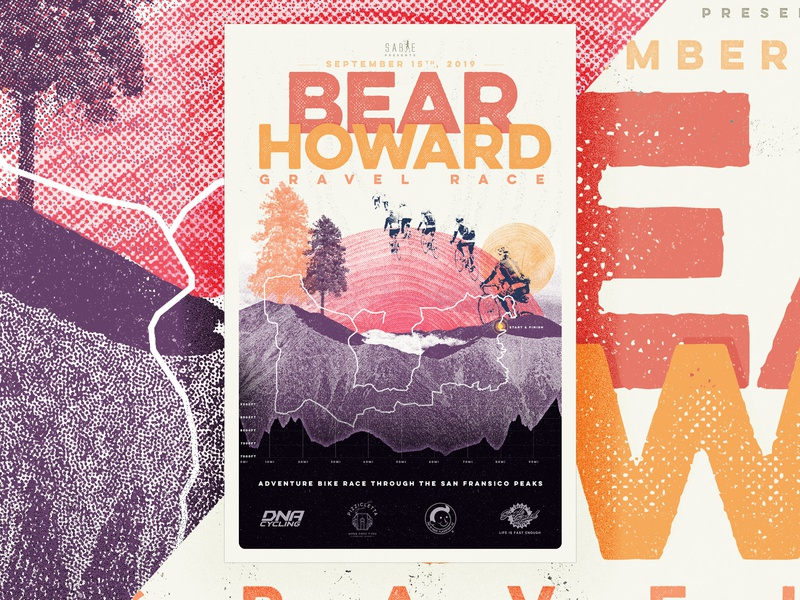 Bear Howard Gravel Race Poster cycling trail mountains texture event gravel bike race type poster