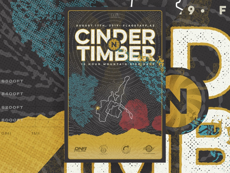 Cinder N Timber Poster mountains halftone psychedelic mountain bike race type poster