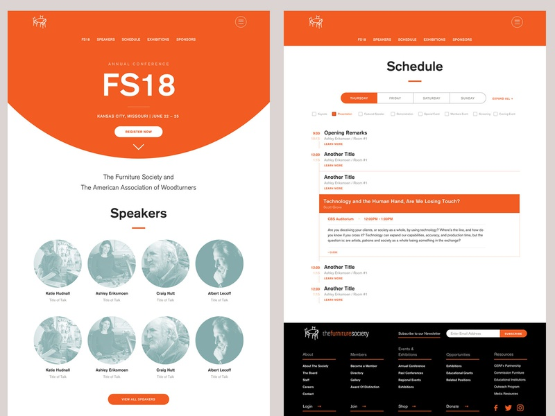 Furniture Society Conference Microsite furniture website conference responsive minimal website web design