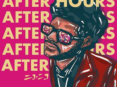 The Weekend retro character portrait hiphop colors rnb handrawn procreate illustration