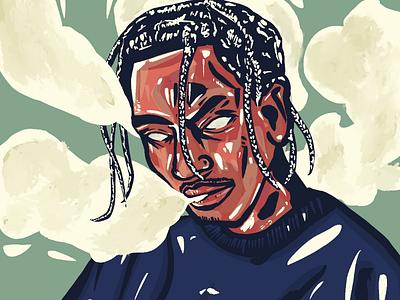 Travis Scott procreate streetwear hiphop portrait illustration