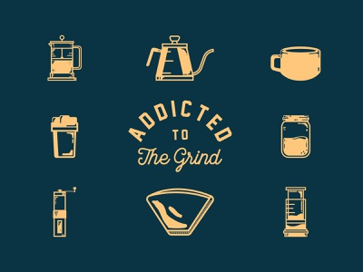 Addicted To The Grind hand drawn vector flat merch design branding typography logo manila philippines typography grinder retro icon grind coffee cup coffee