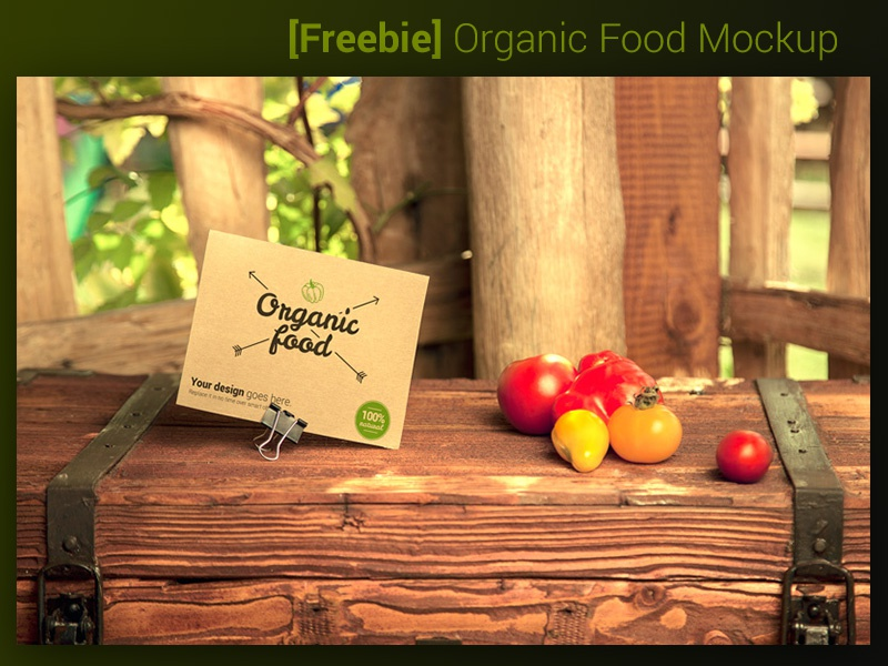 [Freebie] Organic Food Mockup - vegetables food organic food mockup template vegetables card a6 mockup gluten free