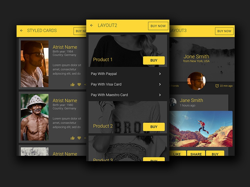 ionic 2 theme templates yellow dark grey by creative studio form