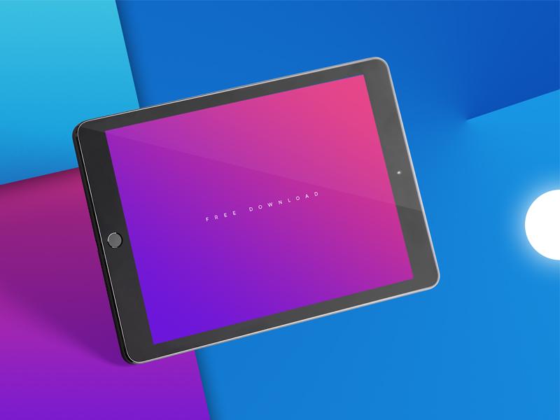 Ipad Photo Mockup Freebie colorful purple blue gradient mock-up ios ux ui free mockup freebie ipad