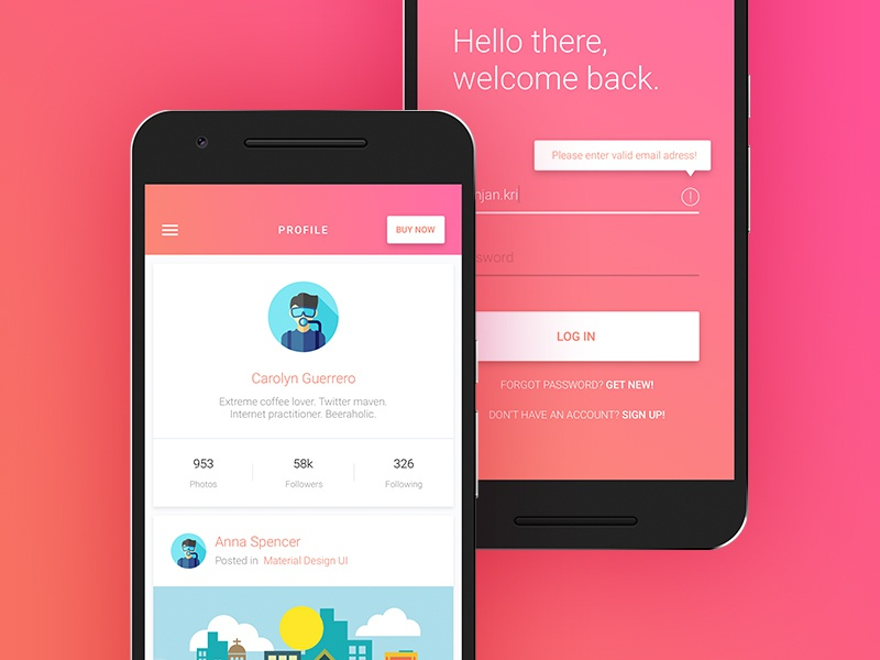 Material Design - profile & login screens by Creative Studio