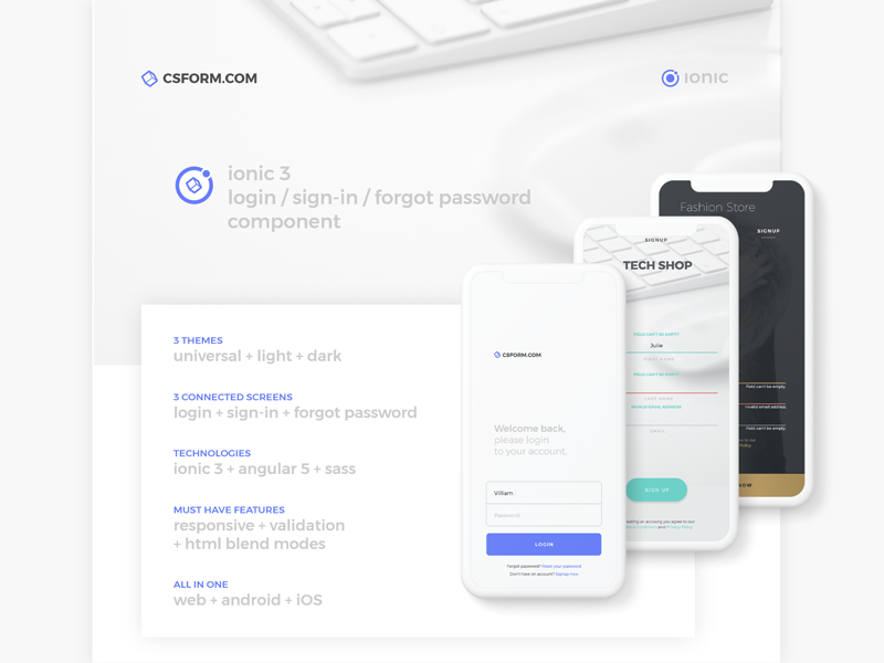 Ionic 3 - Login Page Component by Creative Studio Form on