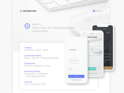 Ionic 3 -  Login Page Component blend mode field label form ionic 3 component sign in register forgot password login dark