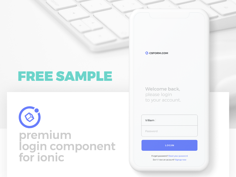 Free sample of Ionic Login Component by Creative Studio Form on Dribbble