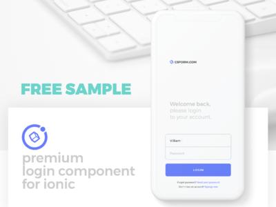 Free sample of Ionic Login Component onboarding register ionic 3 angular ionic login freebie free