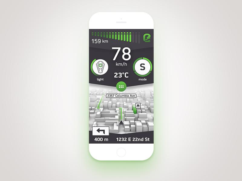 Kawasaki - E horizon app  electric navigation battery motorcycle data ui