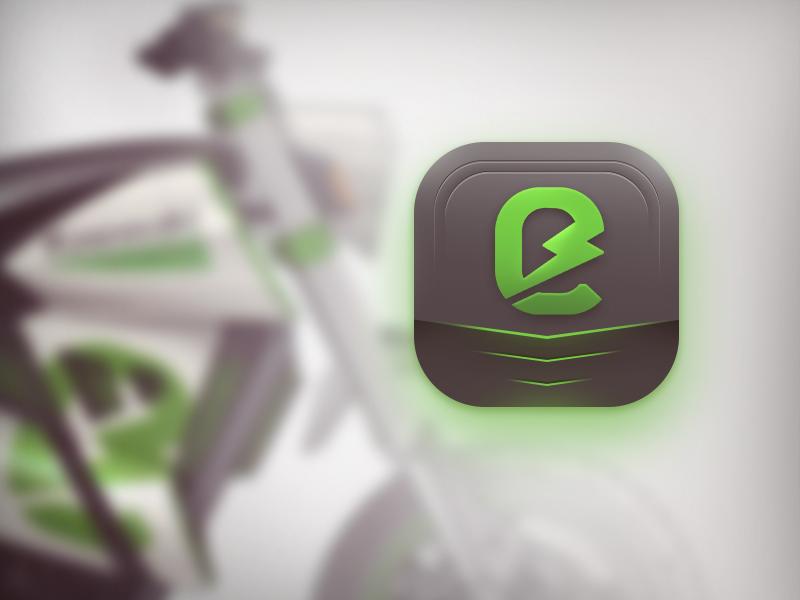 Kawasaki - Electric motorcycle app icon green energy energy green branding battery logo motorcycle kawasaki electric app icon