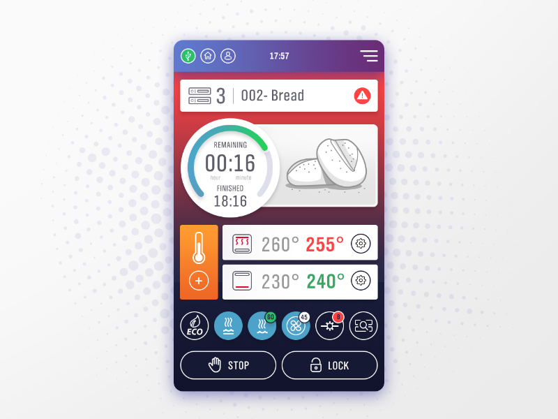 Oven UI study tracking counter time illustration bread bakery oven interface application study ui