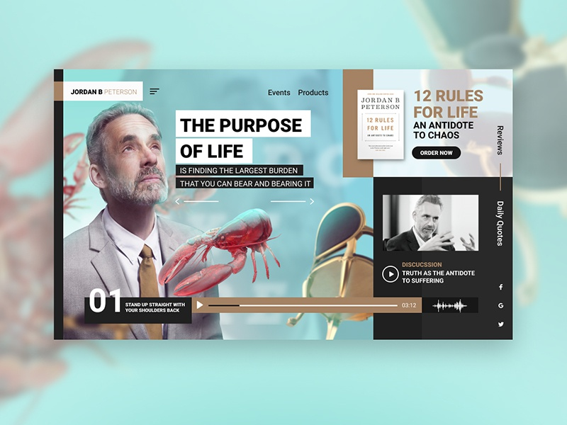Jordan B Peterson UI webdesign website personal website psychology lobster interface ui  ux ui concept