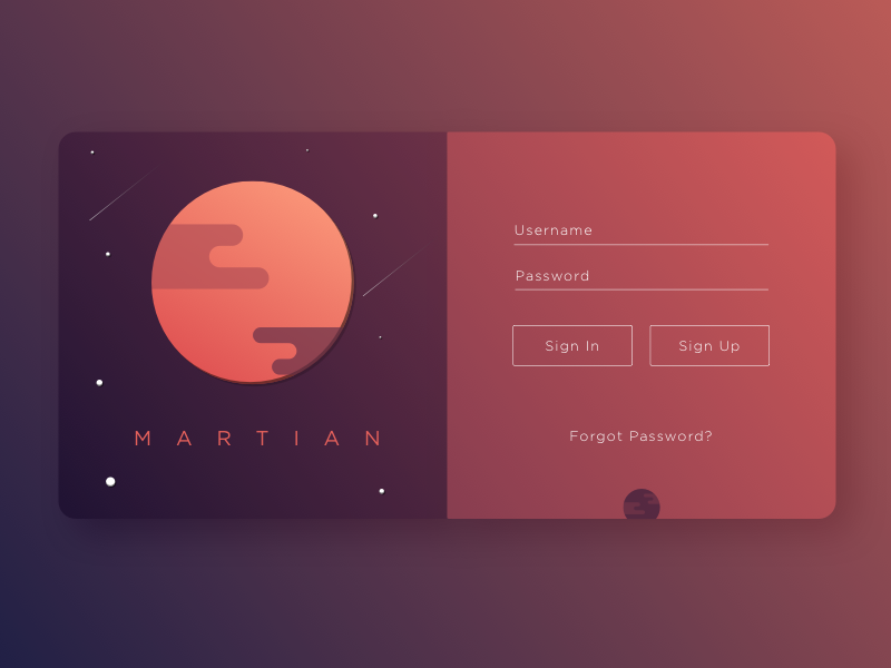 Martian Sign Up - Daily UI gradient fun ui martian signup 001 dailyui
