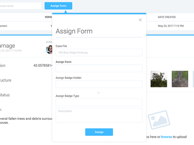 Case Management Dashboard and Modal