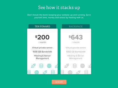 Comparison Boxes web website visual design design hosting tech ui icons ux price comparison