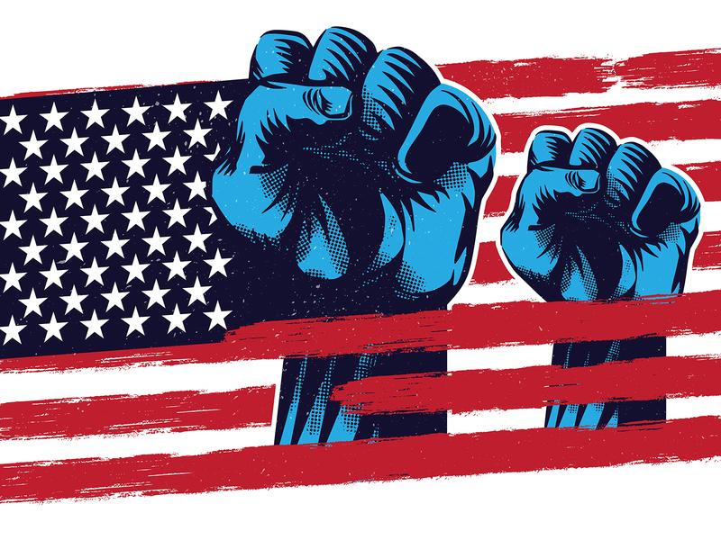 American Flag Freedom Propaganda blacklivesmatter america design labor day propaganda microstock vector graphic retro vector illustration vintage